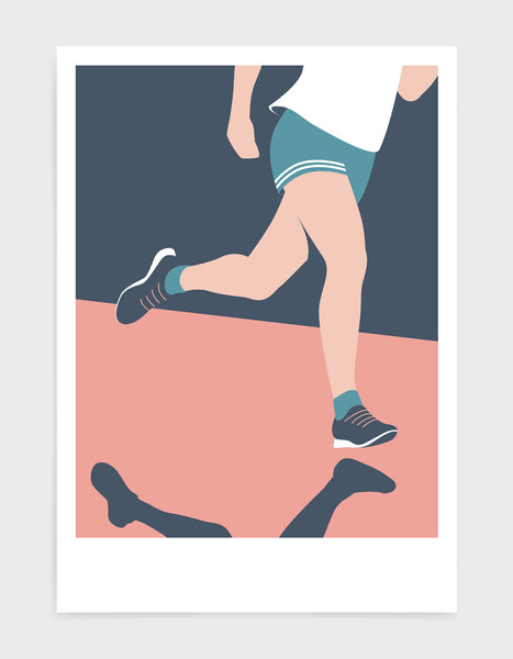 mid-century modern style runner art print depicting a runners legs in pink and blue tones