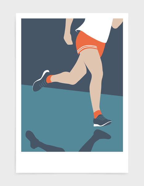 mid-century modern style runner art print depicting a runners legs in orange and blue tones