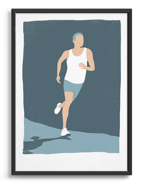 Retro screen print style poster showing a white man running in white vest and shorts against a blue background. His shadow can be seen on the ground