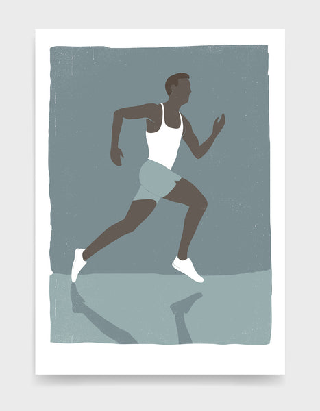Retro screen print style poster showing a black man running in white vest and shorts against a blue background. His shadow can be seen on the ground