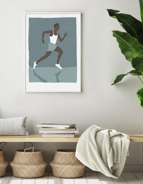 Lifestyle image depicting the runner print on the wall above a hallway bench with storage baskets and books