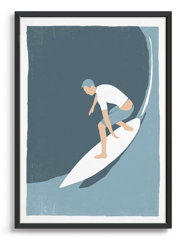 Retro screen print style poster showing a white man surfing a big wave in white rash vest and blue shorts against a blue background.