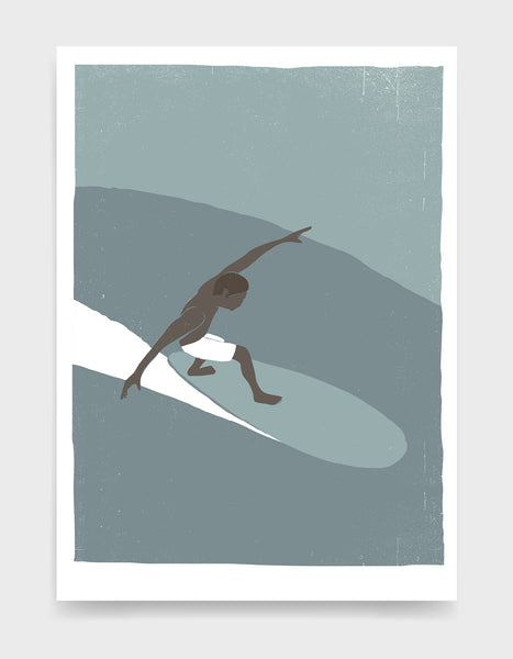 retro screenprint style poster depicting a black man in white shorts riding a wave on a surf board with his arms out to the side to balance