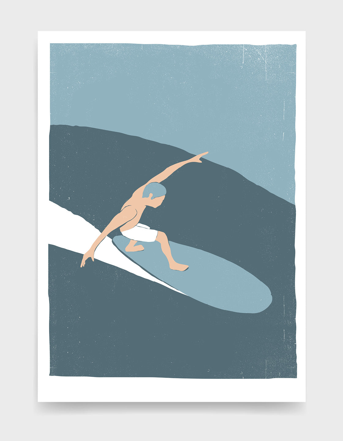 retro screenprint style poster depicting a white man in white shorts riding a wave on a surf board with his arms out to the side to balance