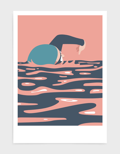 mid-century modern style swimming art print depicting a swimmer in front crawl in pink and blue tones