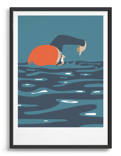 mid-century modern style swimming art print depicting a swimmer in front crawl in orange and blue tones