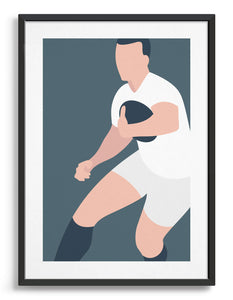 Art print depicting a white male wearing a white rugby kit, running whilst holding a ball. Minimal design on a grey blue colour background