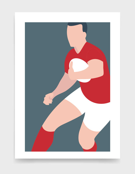 Art print depicting a white male wearing a red tshirt, white shorts and red rugby shorts, running whilst holding a ball. Minimal design on a grey blue colour background
