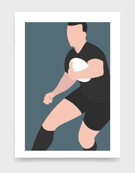 Art print depicting a white male wearing a black rugby kit, running whilst holding a ball. Minimal design on a grey blue colour background