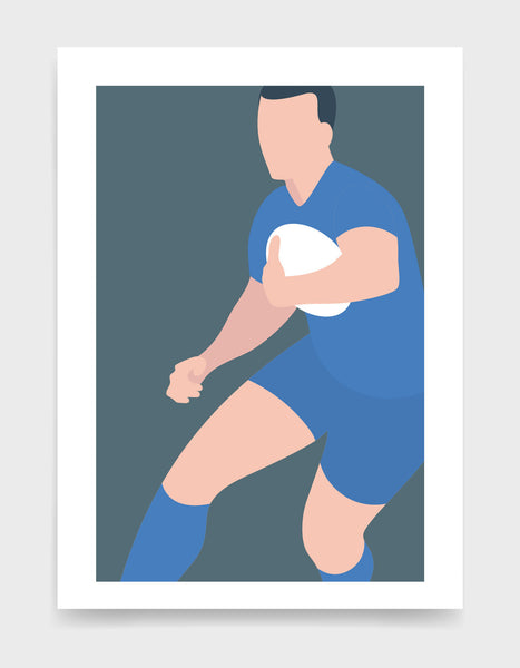Art print depicting a white male wearing a sky blue rugby kit, running whilst holding a ball. Minimal design on a grey blue colour background