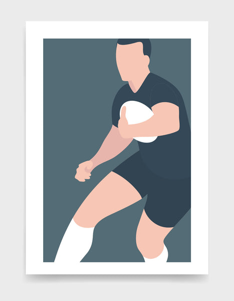 Art print depicting a white male wearing a black rugby kit with white socks, running whilst holding a ball. Minimal design on a grey blue colour background