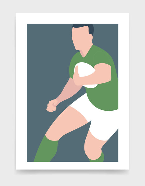 Art print depicting a white male wearing a green tshirt, white rugby shorts and green socks, running whilst holding a ball. Minimal design on a grey blue colour background