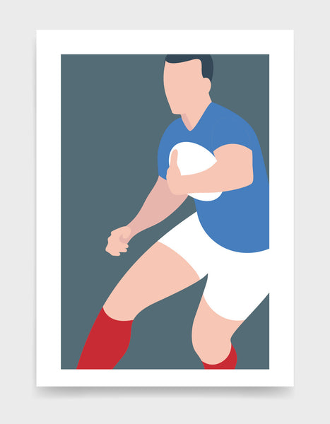 Art print depicting a white male wearing a blue tshirt, white rugby shorts and red socks, running whilst holding a ball. Minimal design on a grey blue colour background