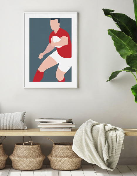 minimal rugby art print against a grey blue background