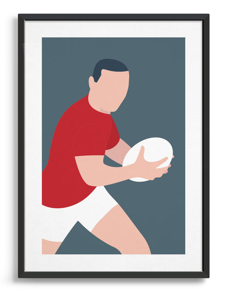 Minimal art print depicting white male rugby player wearing red top and white shorts, running whilst holding a rugby ball, on a grey blue backgroundin a rugby scrum