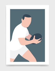 Minimal art print depicting white male rugby player wearing white top and shorts, running whilst holding a rugby ball, on a grey blue backgroundi
