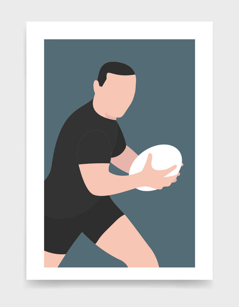 Minimal art print depicting white male rugby player wearing black top and shorts, running whilst holding a rugby ball, on a grey blue backgroundi
