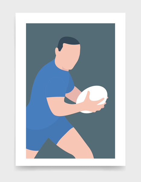 Minimal art print depicting white male rugby player wearing sky blue top and shorts, running whilst holding a rugby ball, on a grey blue backgroundi