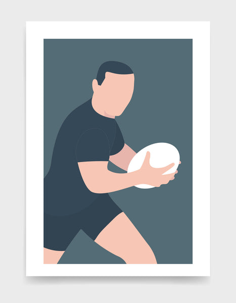Minimal art print depicting white male rugby player wearing dark blue top and shorts, running whilst holding a rugby ball, on a grey blue backgroundi