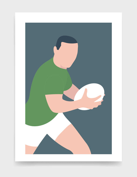 Minimal art print depicting white male rugby player wearing green top and white shorts, running whilst holding a rugby ball, on a grey blue backgroundi