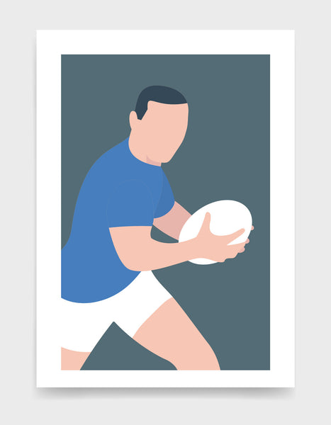 Minimal art print depicting white male rugby player wearing blue top and white shorts, running whilst holding a rugby ball, on a grey blue backgroundi