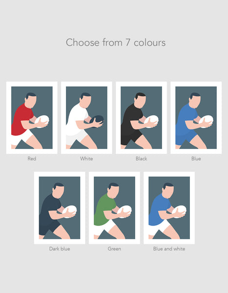 image depicting seven different colour prints available in the rugby collection