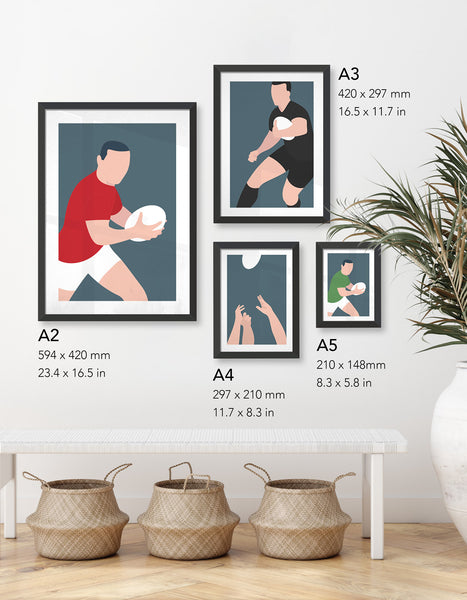 image depicting four different size prints available in the rugby collection; A5, A4, A3 and A2