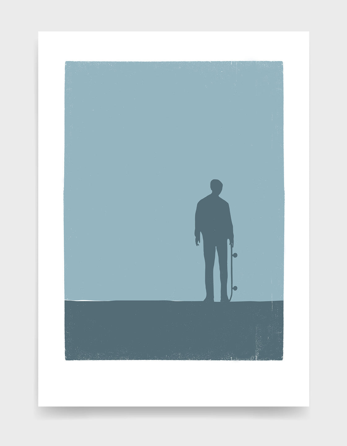 Art print depicting a shadow of a skateboarder standing and holding their skateboard against a blue background