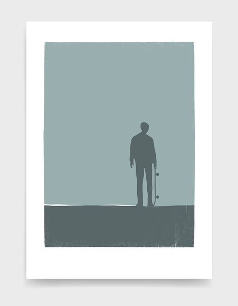 Art print depicting a shadow of a skateboarder standing and holding their skateboard against a grey background