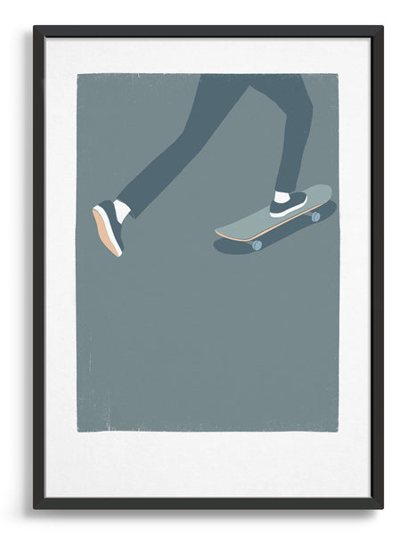 Art print showing a mans legs skating on a skateboard against a blue background