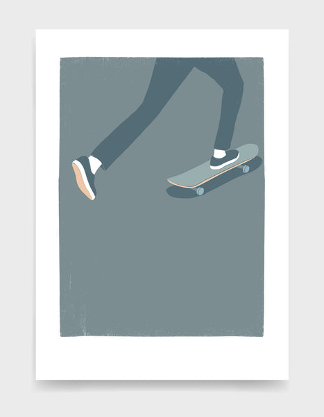 Art print showing a mans legs skating on a skateboard against a grey background