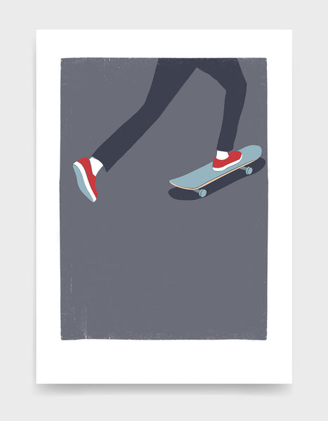 Art print showing a mans legs skating on a skateboard against a purple background