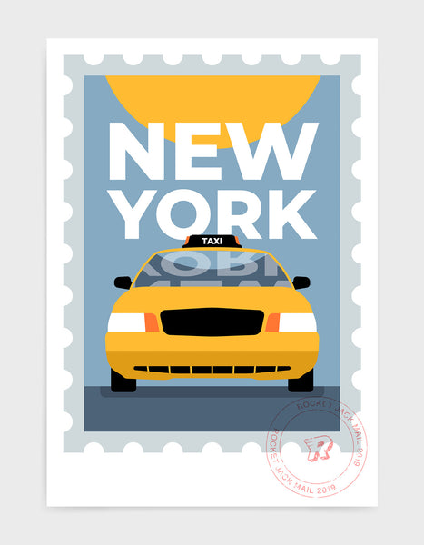 New york city travel poster featuring a yellow taxi on a grey and yellow background with bold type