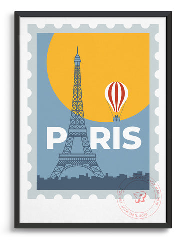 Paris stamp print featuring a hot air balloon and the Eiffel Tower
