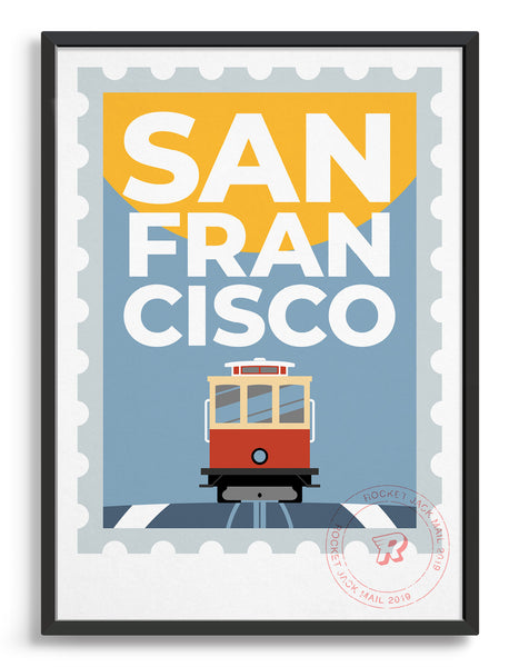 San Francisco stamp style travel poster featuring tram and city text on a grey and yellow background