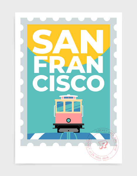 San Francisco stamp style travel poster featuring tram and city text on a bright background