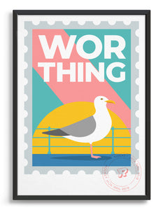 Worthing travel print in the style of a stamp. Features a seagull and promenade railing with bold Worthing text on a bright background
