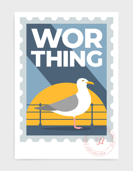 Worthing travel print in the style of a stamp. Features a seagull and promenade railing with bold Worthing text on a grey and yellow background