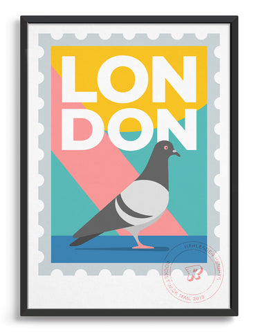 Customisable London stamp print featuring a pigeon against a bright background
