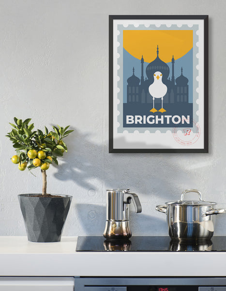 Brighton stamp poster, featuring the Royal Pavilion and a seagull standing on the Brighton text.