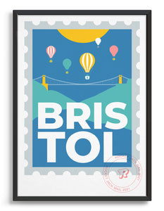 Customisable Bristol stamp print featuring the suspension bridge and hot air balloons against a bright background
