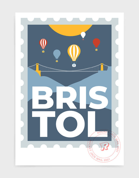 Customisable Bristol stamp print featuring the suspension bridge and hot air balloons against a grey & yellow background