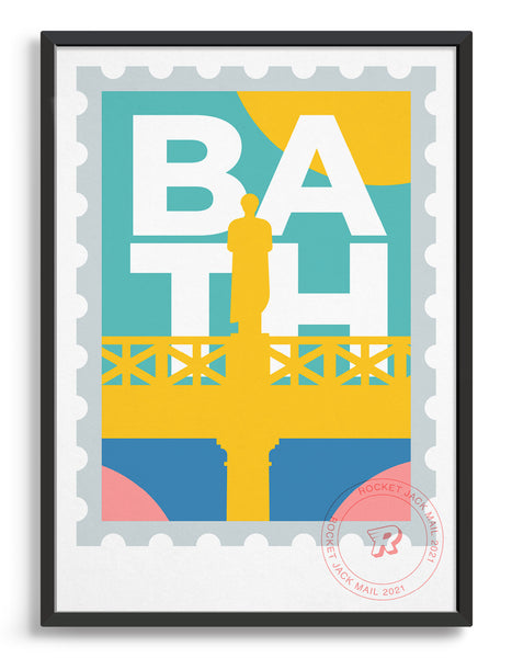 Customisable Bath stamp print featuring a roman statue against a bright background
