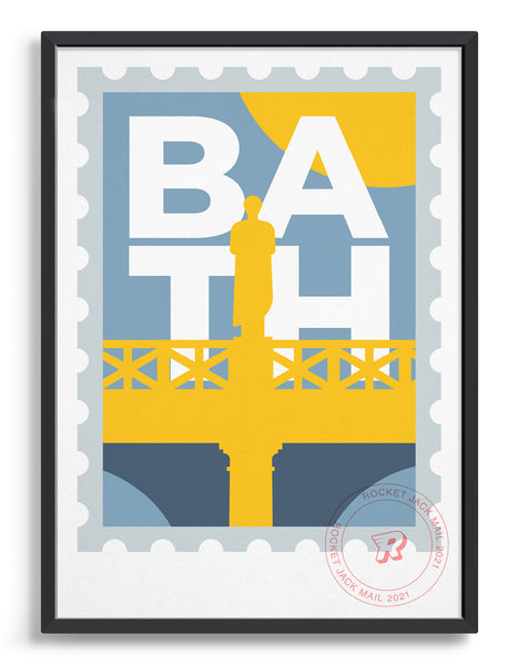 Customisable Bath stamp print featuring a roman statue against a grey & yellow background