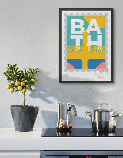Lifestyle image depicts the customisable Bath stamp print featuring a roman statue against a bright background