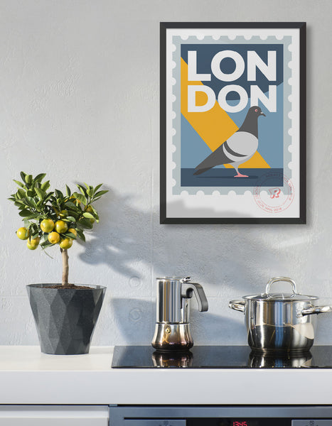 Customisable London stamp print featuring a pigeon against a grey and yellow background