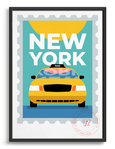 New york city travel poster featuring a yellow taxi on a bright background with bold type
