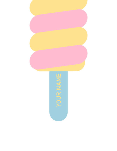 twister ice lolly print with pink and yellow swirls and a pale blue stick on a white background