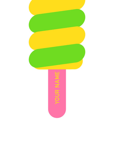 twister style lolly print poster in bright yellow and green with a pink stick