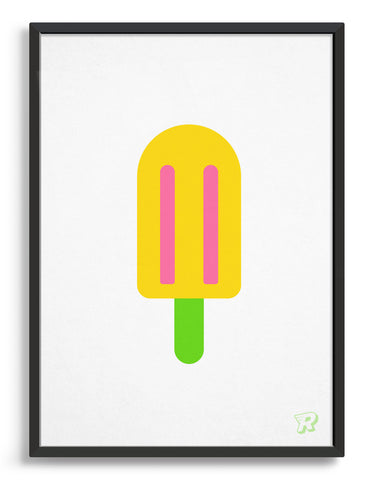 popsicle ice lolly art print with yellow lolly on a green stick against a white background
